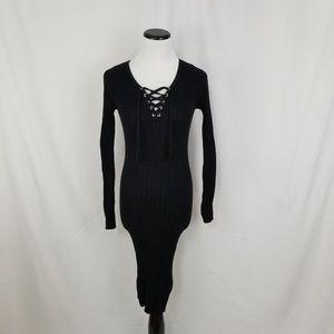 Aqua Dresses - NEW Aqua Black Ribbed Knit Lace Up Sheath Dress